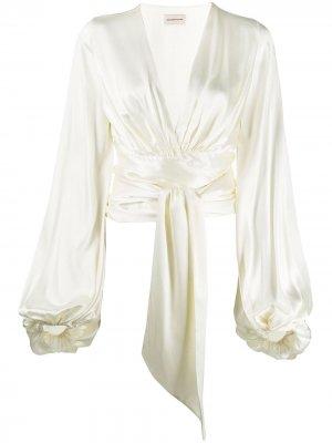 Укороченная атласная блузка с завязками Alexandre Vauthier. Цвет: нейтральные цвета