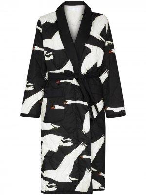 Стеганый халат Cygnus с принтом Desmond & Dempsey. Цвет: черный