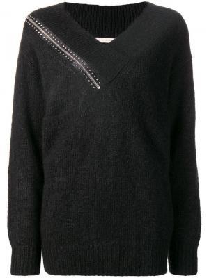 Shoulder zip knit sweater Christopher Kane. Цвет: черный