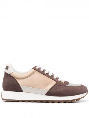 Кроссовки на шнуровке Peserico. Цвет: коричневый