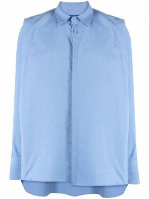 Плиссированная рубашка оверсайз Ader Error. Цвет: синий