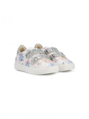Printed embellished sneakers Monnalisa. Цвет: белый