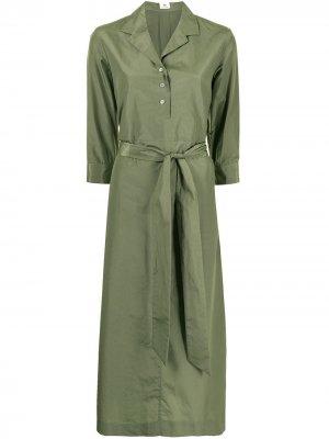 Платье-рубашка миди с поясом Colombo. Цвет: зеленый