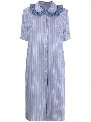 Платье-рубашка миди с геометричным принтом Baum Und Pferdgarten. Цвет: синий