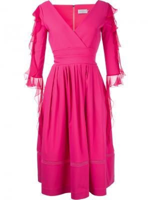 Платье с V-образным вырезом и рюшами Preen By Thornton Bregazzi. Цвет: розовый