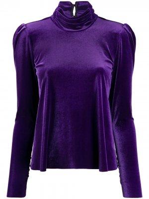 Блузка с высоким воротником Forte. Цвет: фиолетовый