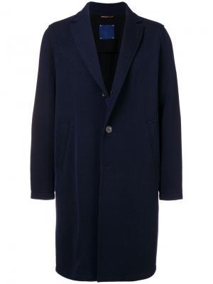 Однобортное пальто Altea. Цвет: синий