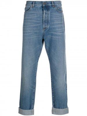 Прямые джинсы с подворотами Balmain. Цвет: синий