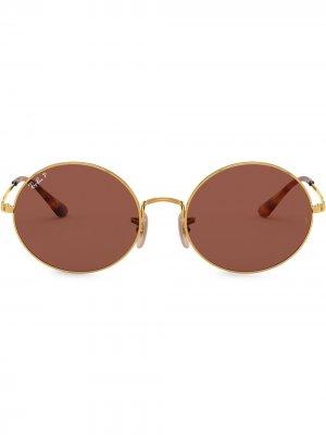 Солнцезащитные очки 1970 в овальной оправе Ray-Ban. Цвет: золотистый