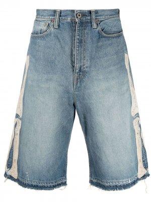 Джинсовые шорты с вышивкой Kapital. Цвет: синий
