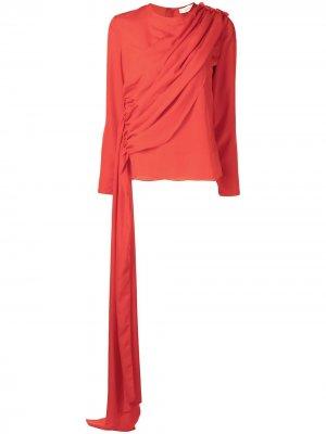 Драпированная блузка Semsem. Цвет: красный