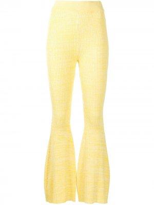 Расклешенные брюки в рубчик Anna Quan. Цвет: желтый