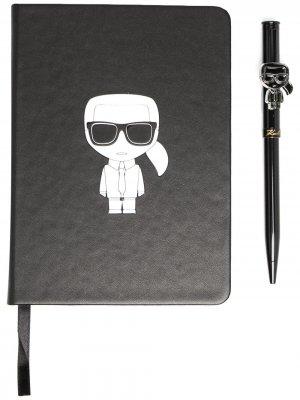 Комплект K/Ikonik из записной книжки и ручки Karl Lagerfeld. Цвет: черный