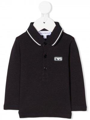 Рубашка поло с длинными рукавами и нашивкой-логотипом Emporio Armani Kids. Цвет: синий