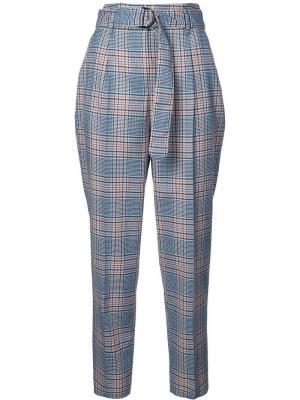Клетчатые брюки с завышенной талией Akris Punto. Цвет: синий