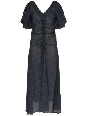 Платье Sisi из крепа с узором в горох Paper London. Цвет: синий