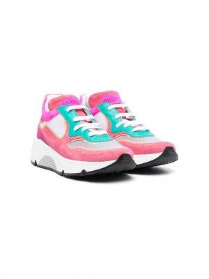 Массивные кроссовки в стиле колор-блок Gallucci Kids. Цвет: розовый