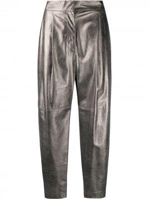 Зауженные брюки с завышенной талией Brunello Cucinelli. Цвет: серебристый