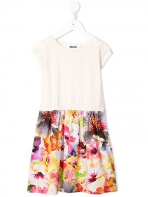 Платье миди с цветочным принтом Molo. Цвет: нейтральные цвета