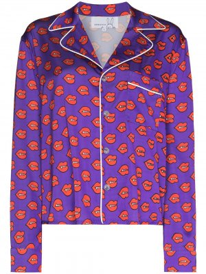 Пижамный топ с принтом Fangs Natasha Zinko. Цвет: фиолетовый