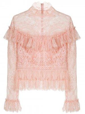 Кружевная блузка с оборками Zuhair Murad. Цвет: розовый