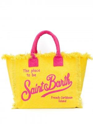 Парусиновая пляжная сумка с логотипом Mc2 Saint Barth. Цвет: желтый