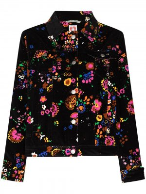 Бархатный пиджак Reeve с цветочным принтом Shrimps. Цвет: черный