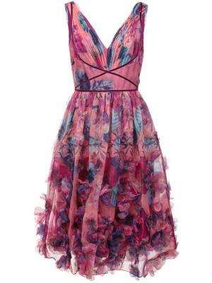 Коктейльное платье с цветочной вышивкой Marchesa Notte. Цвет: розовый