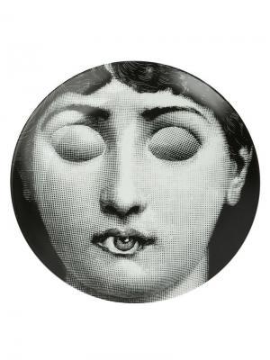 Тарелка с принтом-портретом Fornasetti. Цвет: черный