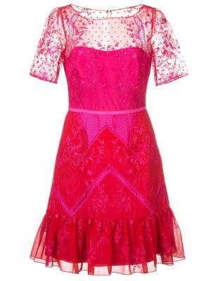 Short lace dress Marchesa Notte. Цвет: красный