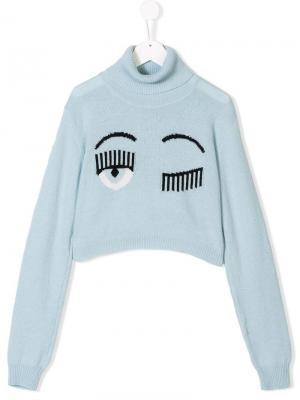 TEEN Flirting knitted jumper Chiara Ferragni Kids. Цвет: синий
