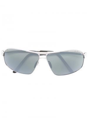 Солнцезащитные очки в квадратной оправе Porsche Design. Цвет: металлик