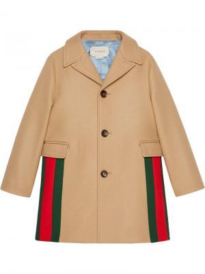 Web panel single-breasted coat Gucci Kids. Цвет: коричневый
