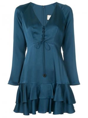 Платье с оборками Hylda Alexis. Цвет: синий