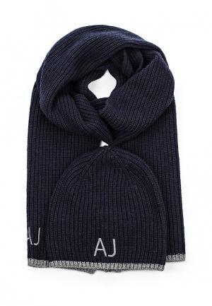Комплект шапка и шарф Armani Jeans. Цвет: синий