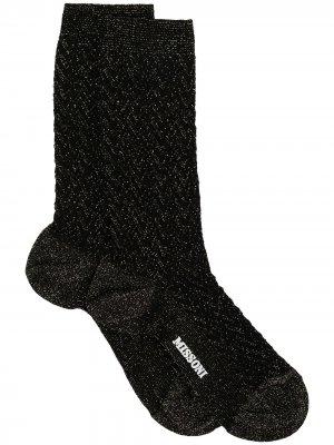 Носки с блестками и логотипом M Missoni. Цвет: черный