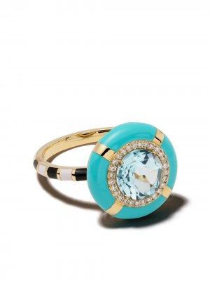 Золотое кольцо Show N Tell Ready To Celebrate с бриллиантами Nevernot. Цвет: голубой
