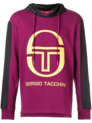 Толстовка с капюшоном и логотипом Sergio Tacchini. Цвет: розовый