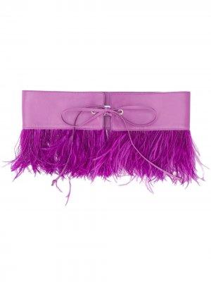 Пояс с декором из перьев The Attico. Цвет: фиолетовый