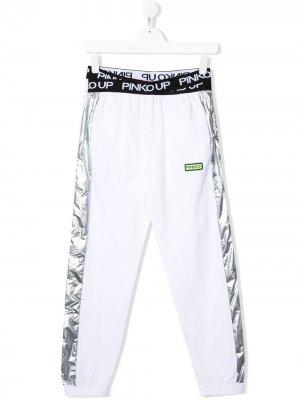 Спортивные брюки с логотипом Pinko Kids. Цвет: белый