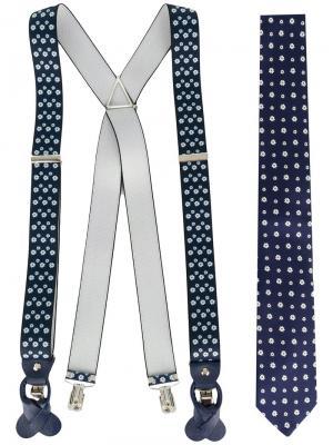 Комплект из подтяжек и галстука с цветочным узором Fefè. Цвет: синий
