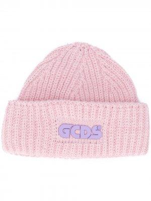 Шапка бини в рубчик с логотипом Gcds. Цвет: розовый