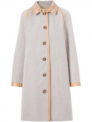 Однобортное пальто Burberry. Цвет: серый