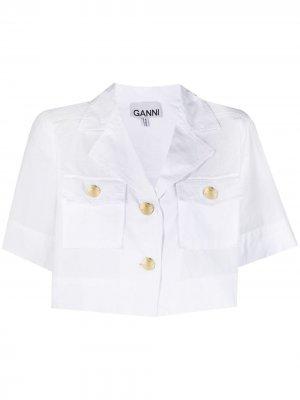 Укороченная рубашка с короткими рукавами GANNI. Цвет: белый