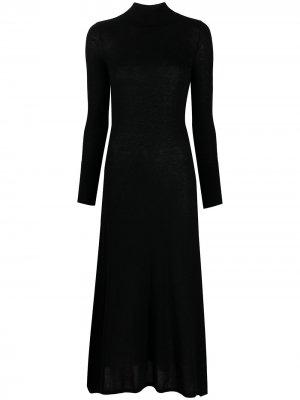Платье с длинными рукавами и высоким воротником Le Kasha. Цвет: черный