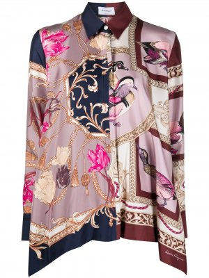Блузка с принтом Salvatore Ferragamo. Цвет: розовый