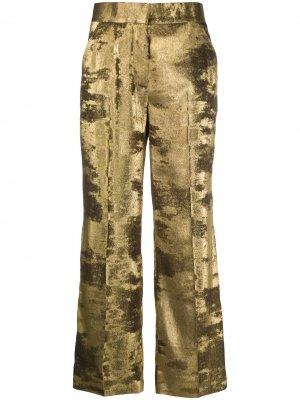 Укороченные брюки прямого кроя Blazé Milano. Цвет: золотистый