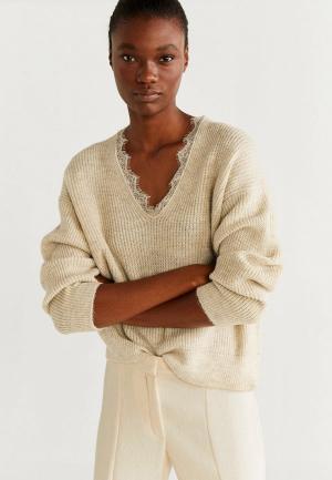 Пуловер Mango. Цвет: бежевый