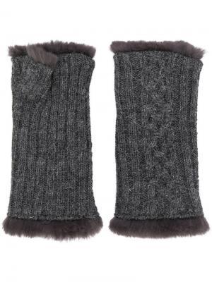 Вязаные перчатки Agnelle. Цвет: серый