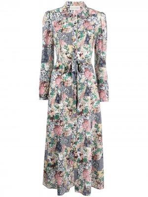 Платье Vanessa с цветочным принтом Saloni. Цвет: нейтральные цвета